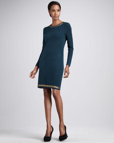 Chain-Trim Cashmere Dress