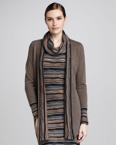 Wave-Stitch Cashmere Cardigan