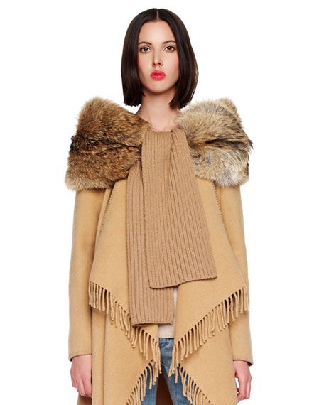 Ribbed Scarf with Fur