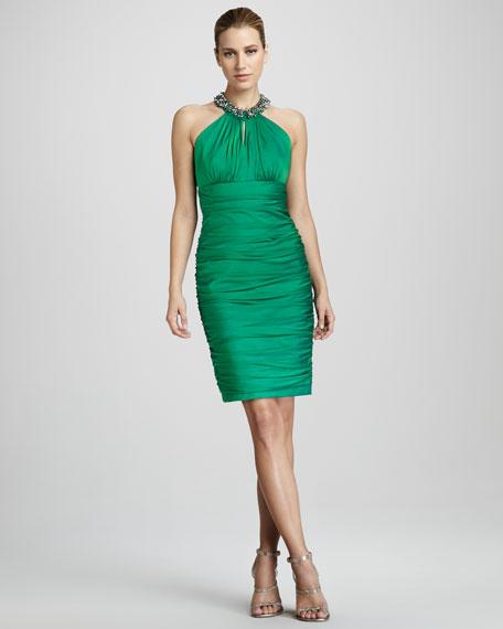 Beaded Halter Cocktail Dress