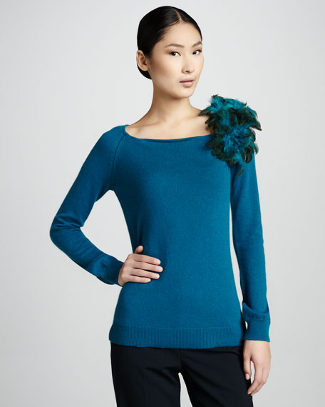 Feather-Brooch Cashmere Sweater