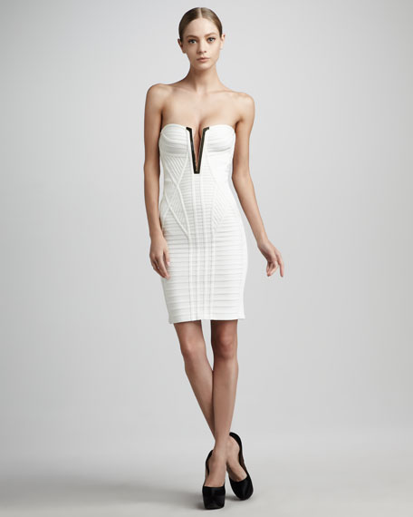 Trimmed Strapless Plunge Bandage Dress