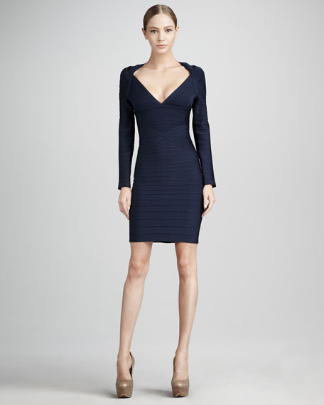 Long-Sleeve Bandage Dress, Navy