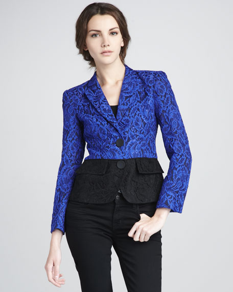 Colorblock Lace Blazer