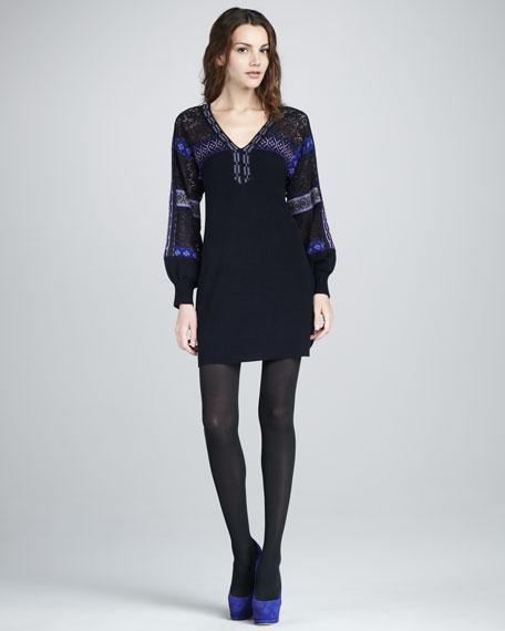 Maestro Mixed-Knit Shift Dress