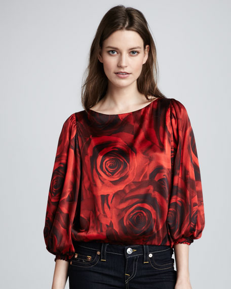 Rose-Print Satin Top