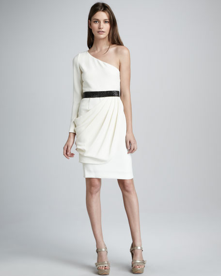 Belted Single-Sleeve Dress