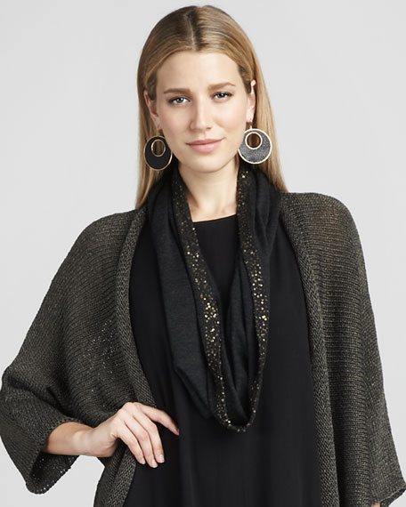 Sequin Merino Scarf, Charcoal