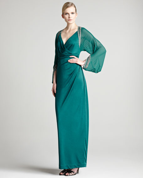 Bead-Trim Jersey Gown