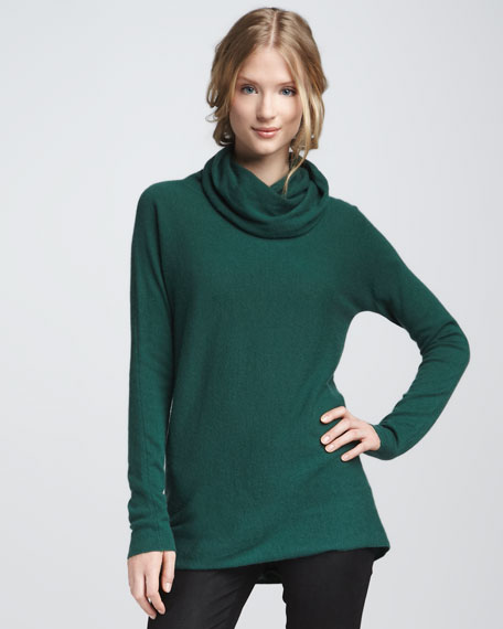 Cowl-Neck Cashmere Sweater, Evergreen