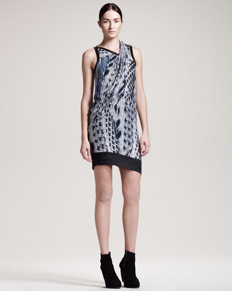 Asymmetric Pheasant-Print Dress