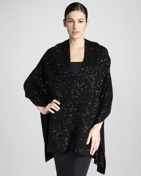Sequined Cashmere Shawl Top