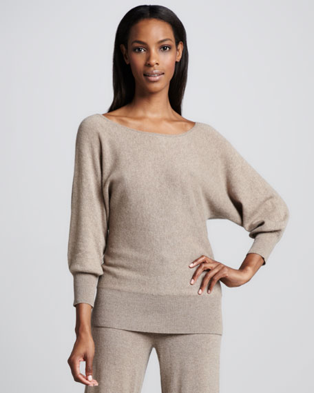 Dolman-Sleeve Cashmere Tunic