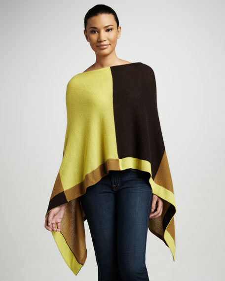 Ruana Cashmere Colorblock Cape