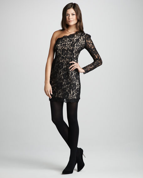 Single-Sleeve Lace Dress