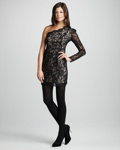 Single-Sleeve Lace Dress