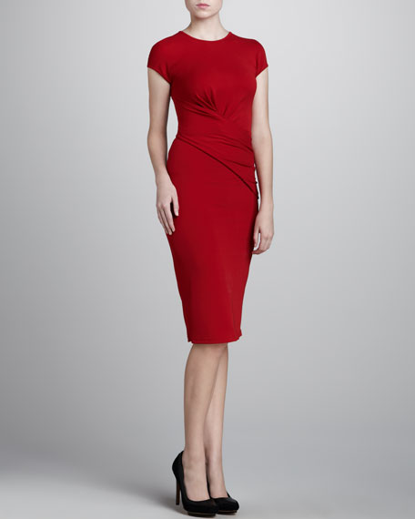Crewneck Wrap Jersey Dress, Crimson