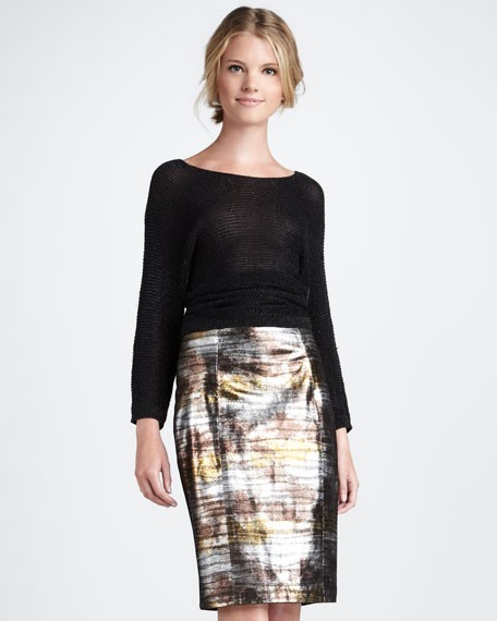 Eel-Print Leather Skirt