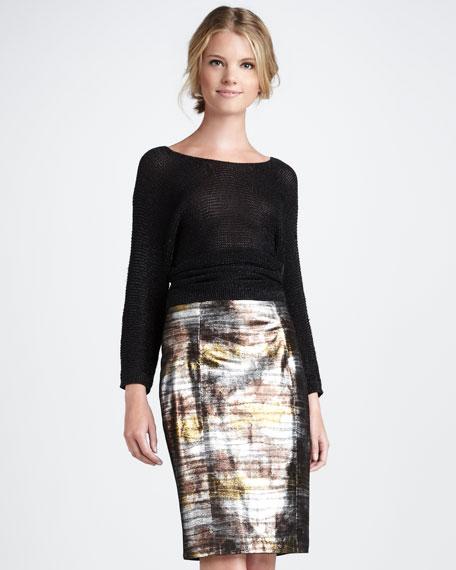 Eel-Print Leather Skirt