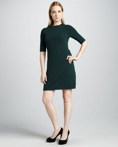 Half-Sleeve Cashmere Dress, Holly Green