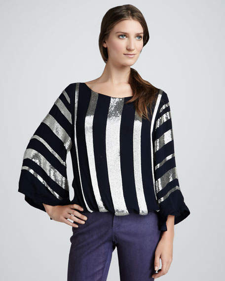 Jill Sequin-Stripe Top