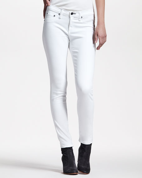 Cropped Stretch-Twill Leggings, Bright White