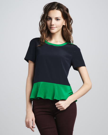Avery Two-Tone Peplum Top
