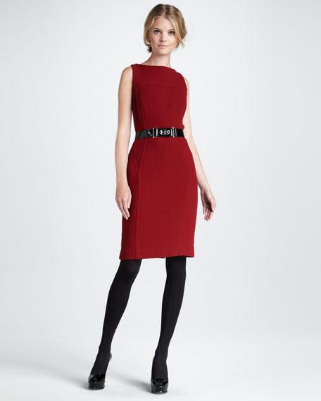 Belted Sheath Dress, Burgundy