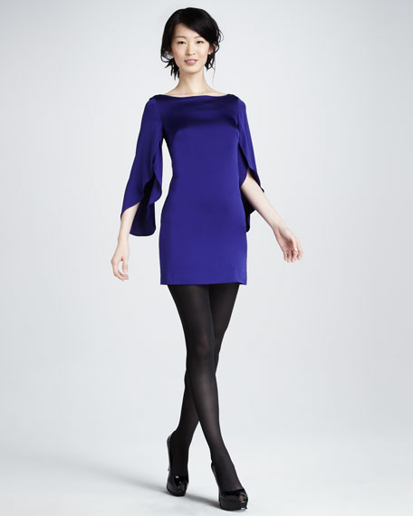 Butterfly-Sleeve Minidress, Blackberry