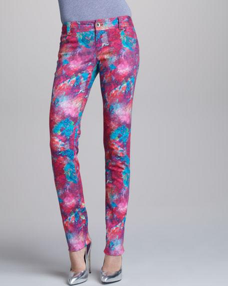 Printed Five-Pocket Skinny Jeans