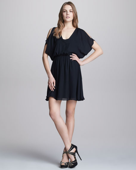 Zarrah Cold-Shoulder Silk Dress