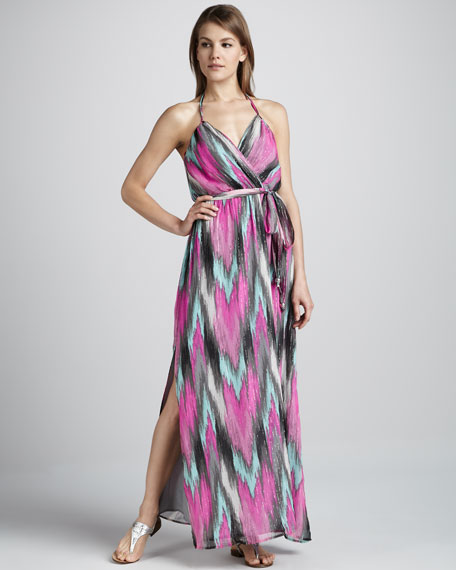 Shimmery Ikat-Print Maxi Dress
