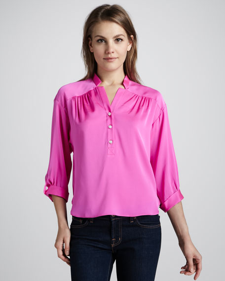 Short Stretch-Silk Blouse