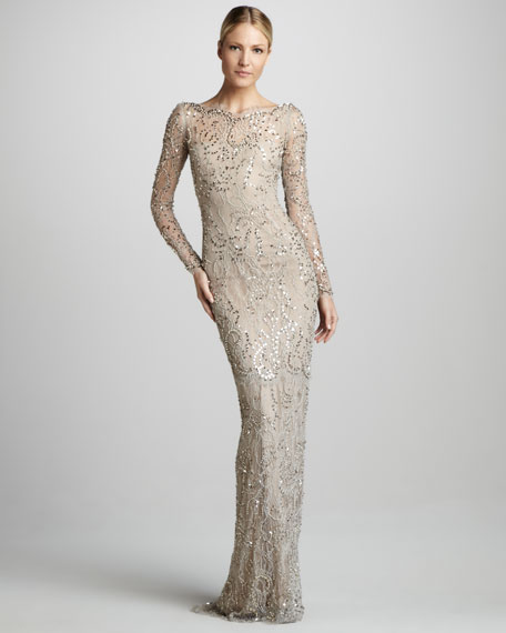 Long-Sleeve Beaded Lace Gown