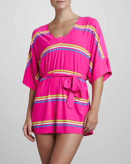 Miss Divine V-Neck Striped Coverup, Ultra Fuchsia