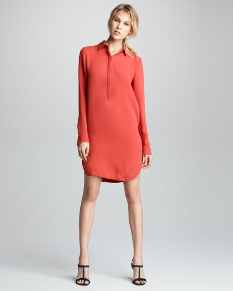Long-Sleeve Silk Shirtdress