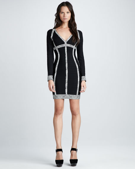 Long-Sleeve Bandage Dress with Printed Accents