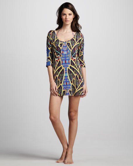 Psychic Readings Printed Coverup Dress
