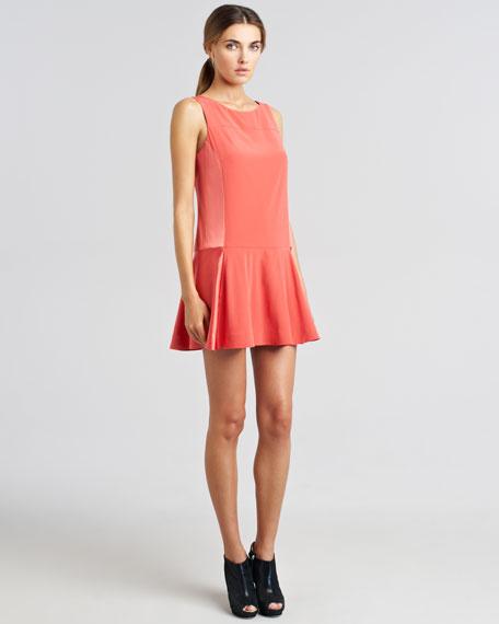 Sofia Bi-Fabric Flounce Dress