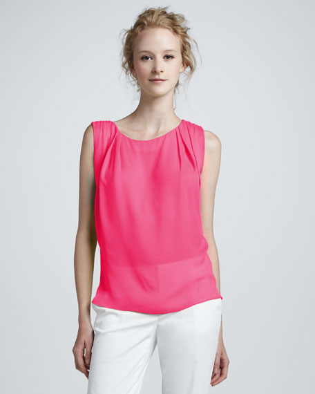 Gladys Pleated-Shoulder Top