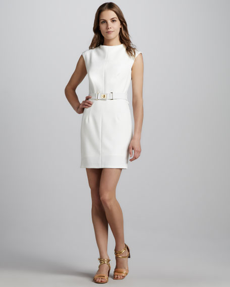 Daphne Belted Dress, Ecru