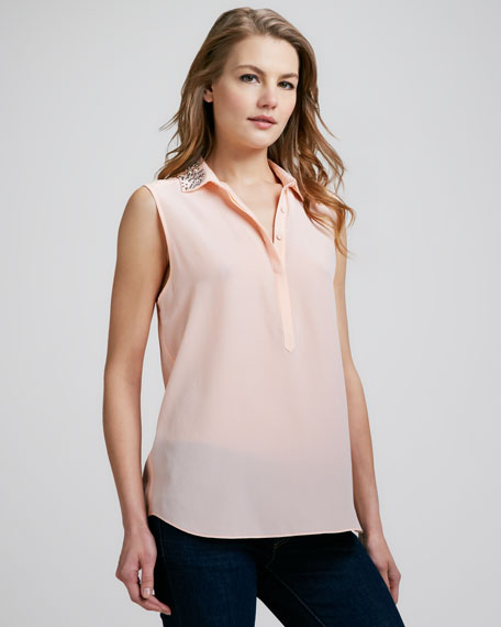 Bead-Collar Silk Blouse