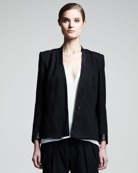 Cove Leather-Trim Suit Jacket