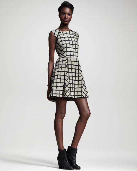 Lorie Windowpane-Check Dress