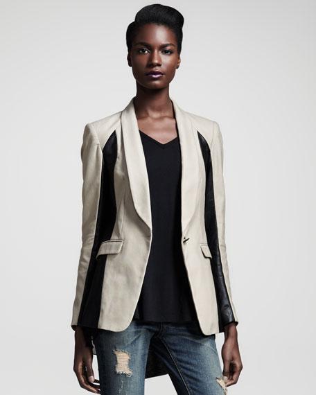 Jefferson Leather-Panel Blazer