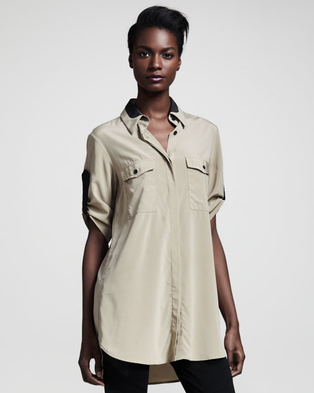 Midnight Leather-Trim Shirt