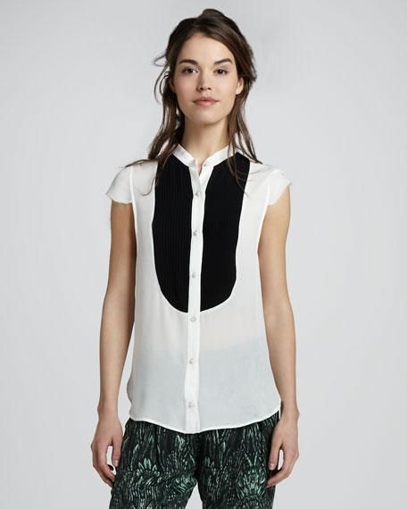 Cap Sleeve Button-Down Shirt