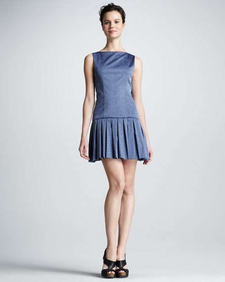 Harper Pleated-Skirt Dress