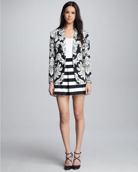 Graphic-Stripe Box-Pleat Skirt