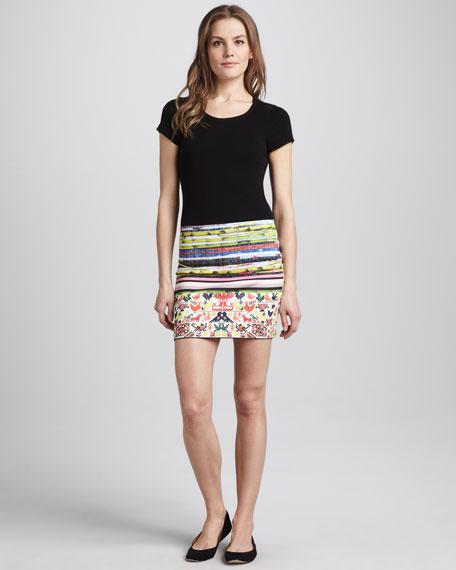 Mixed-Pattern Miniskirt